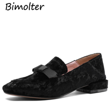 Bimolter 2019 Velvet Shoes Women Leisur Flats Bow-knot Square To Shoes Spring Pointed Toe Ladies Shoes Flats Footwear Black B025 все цены