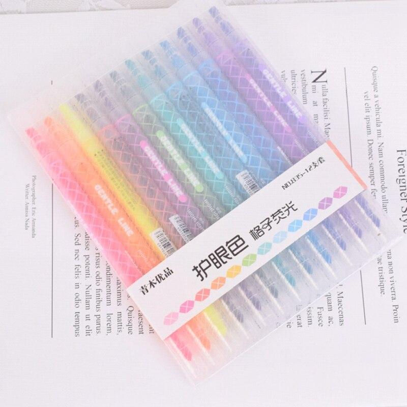 12Pcs/Set Lattice Mildliner Pen Headed Highlighter Pen Drawing Marker Pens School Office Supply Art Highlighter Drawing Mark Pen