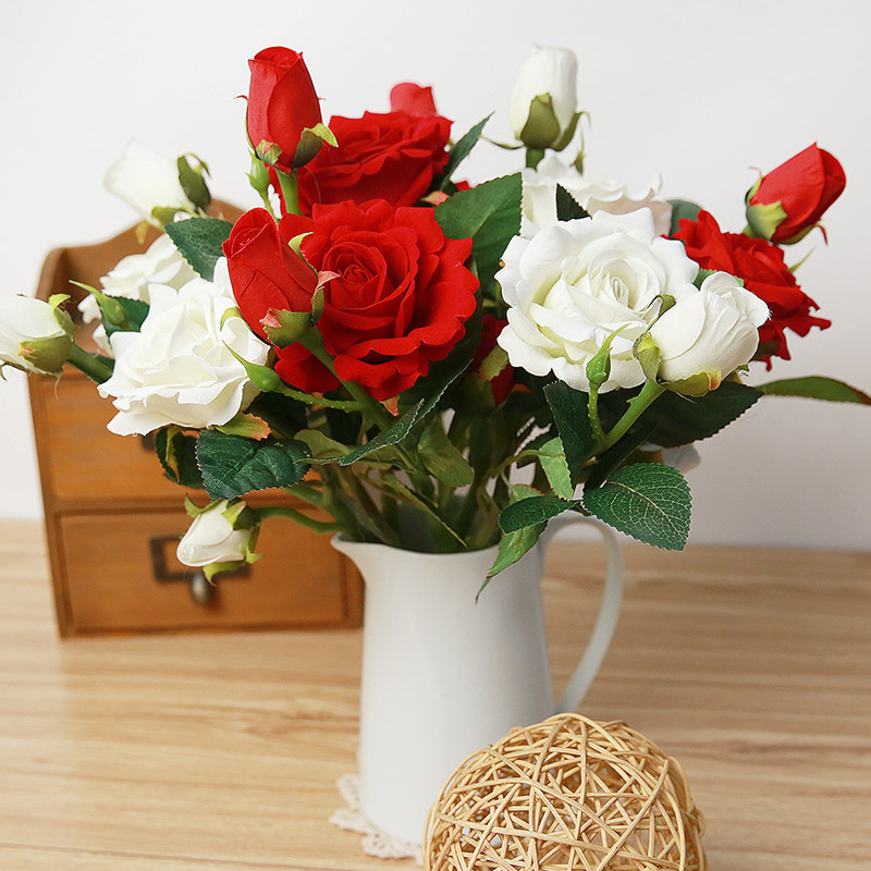 Diy 37cm High Simulation 3 Head Long Stem Velvet Rose Artificial Flowers High Quality Fake Rose Silk Flower