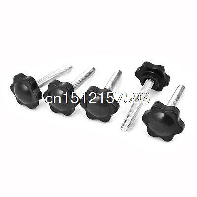 M6 x 40mm Male Thread 42mm Star Head Dia Screw On Type Clamping Knob 5Pcs 5pcs m8 x 50mm thread 40mm star head diameter clamping grips knob handle with plate replacement screw on star knobs