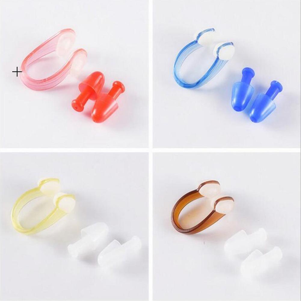 HobbyLane Outdoor Swimming Adult Soft Silicone Nose Splint Clip Mushroom Waterproof Earplug Set Accessory
