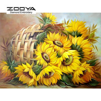 5D DIY Diamond Painting Flower Crystal Diamond Painting Cross Stitch Sunflower Floral Basket Needlework Home Decorative