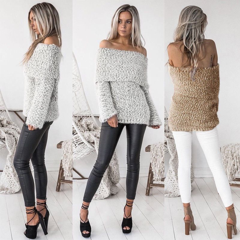 New Fashion Women Off Shoulder Sweater Casual Long Sleeve Knitted Sweater Outwear Women Sexy Clothes