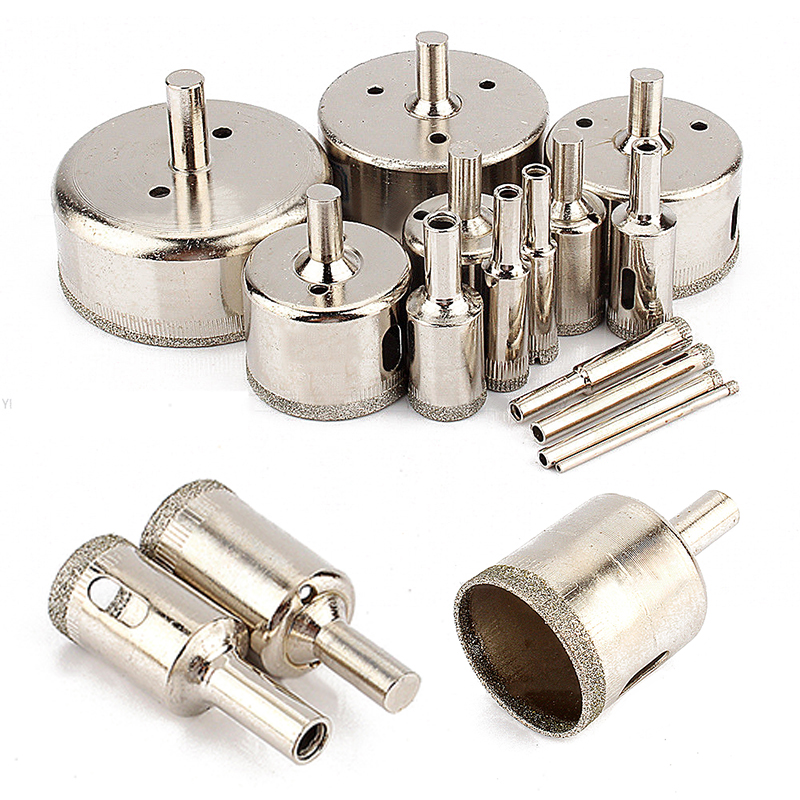 14pcs Diamond Coated Hole Saw Cutter Marble Drill Bit Power Tools Set 3/5/6/8/10/12/16/18/20/30/40/50/60/70mm For Tiles Glass jelbo cone step drill hole tools countersink 3pc drill bit set power tools step drill bit for metal power tools set hole cutter