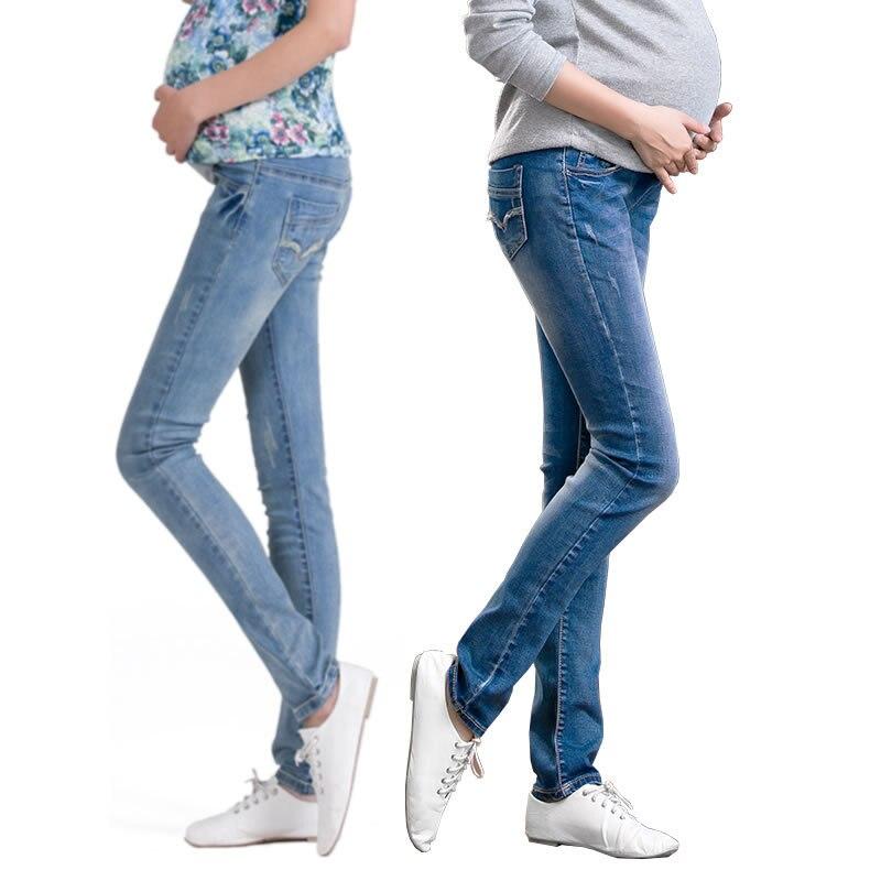 15a84e1952850 مرونة الخصر بنطلون جينز للأمهات المرضعات السراويل للحمل الملابس للنساء  الحوامل يغطي الرجل الخريف الشتاء 2015 الأمومة زائد حجم