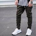 Pantalones de los hombres basculador side zipper flacos pantalones harén de la cadera hop mens joggers pantalón casual justin bieber pantalones track basculador