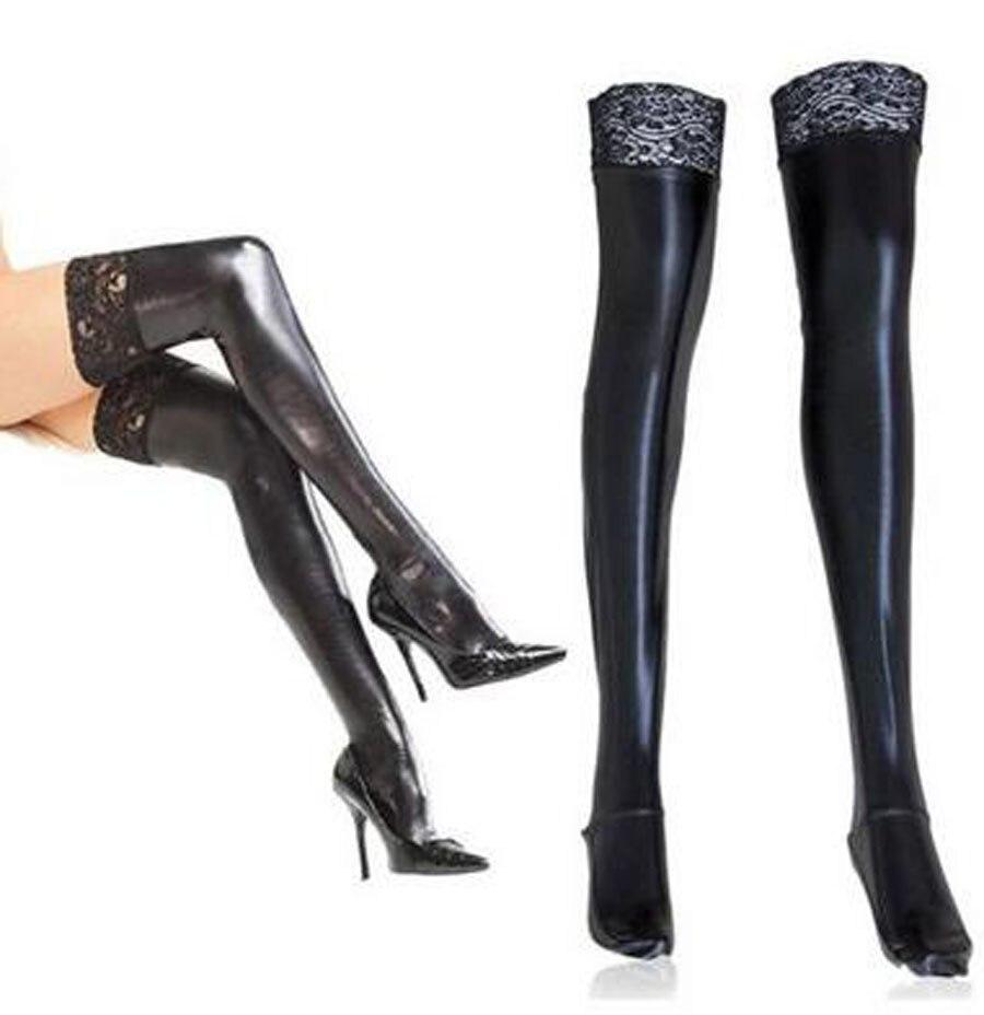 Sexy Lingerie, Women Black Patent Leather Elastic Lace