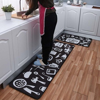 Cartoon Printed Non Slip Kitchen Mats for Water Absorption and to Keep Dry Kitchen and Hallway Floor