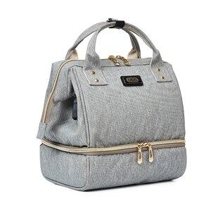 Image 4 - Bolsa de pañales para bebés con interfaz USB, mochila de maternidad para hombros, bolsa de lactancia de diseño para pañales con bolsillo para botella con aislamiento térmico