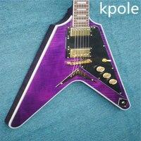 New custom guitare livraison gratuite couleur pourpre flying v guitare électrique