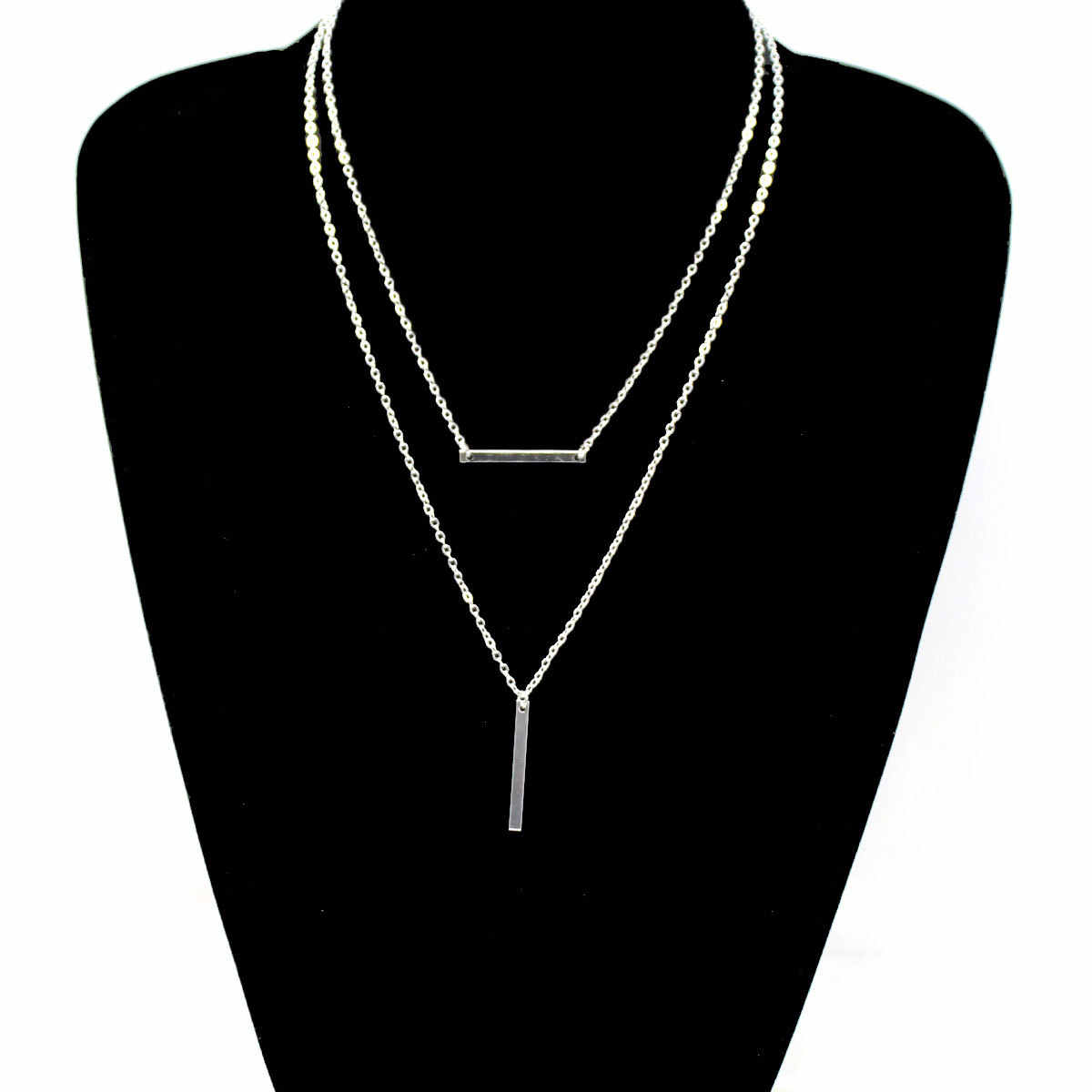Simple Double Layered Necklace Pendants Women Creative Hanging Jewelry Clavicle Chain Necklace