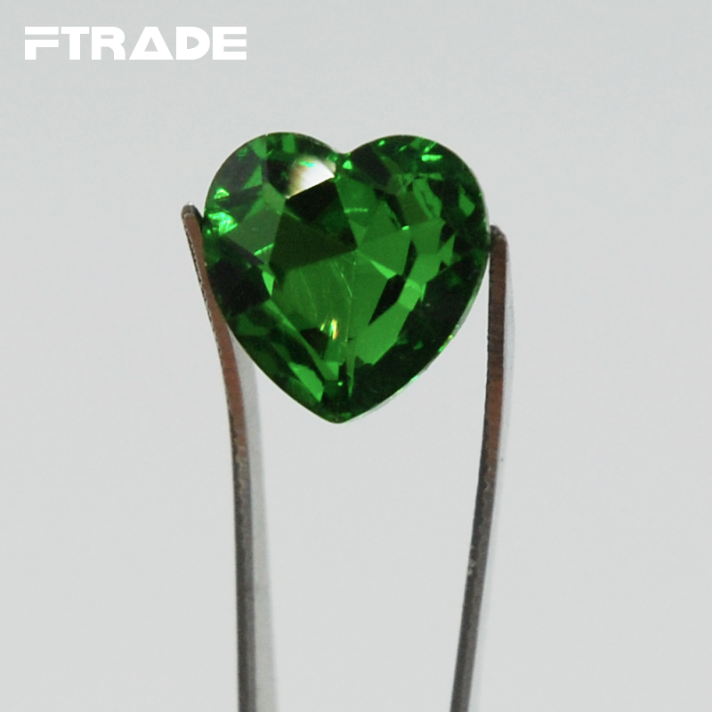 size emerald gold about sz itm details ring black filled shaped green engagement mystic heart