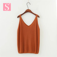 STVY Summer Style Tank Tops 2018 Women Leisure Solid Color Loose Knitting Camisole Tops Ladies Vest