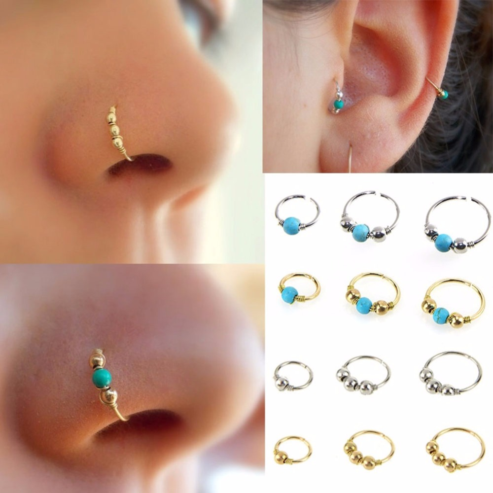 3pcs Set Fashion Retro Round Beads Gold Color Nose Ring For Women