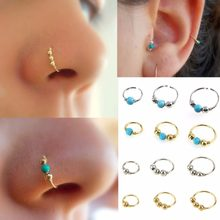 3Pcs/Set Fashion Retro Round Beads Nose Ring Nostril Hoop Body Piercing Jewelry #248359(China)