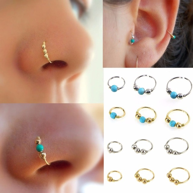 3pcs Set Retro Round Beads Nose Stud Earrings Nostril Hoop Body Piercing Jewelry 6mm