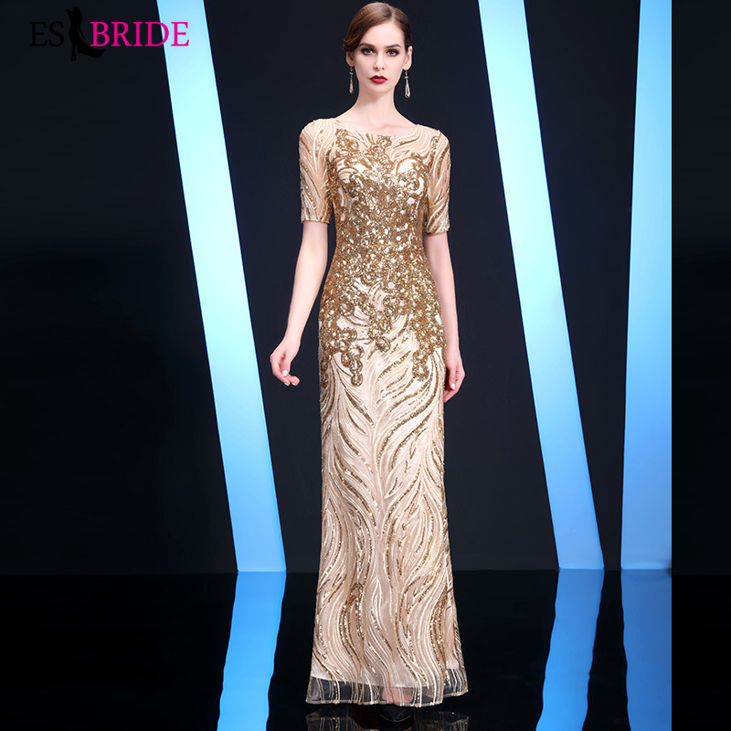 Gorgeous Gold Fashion   Evening     Dresses   2019 New Arrival Long Party Gowns with Ruffles Sexy Formal Wedding Guest Gowns ES1376