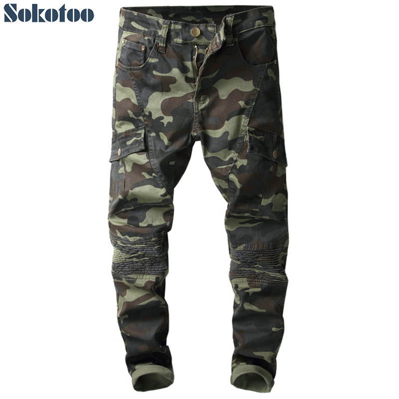Special price! Men's camouflage printed biker jeans for moto Slim fit patchwork pockets denim cargo pants