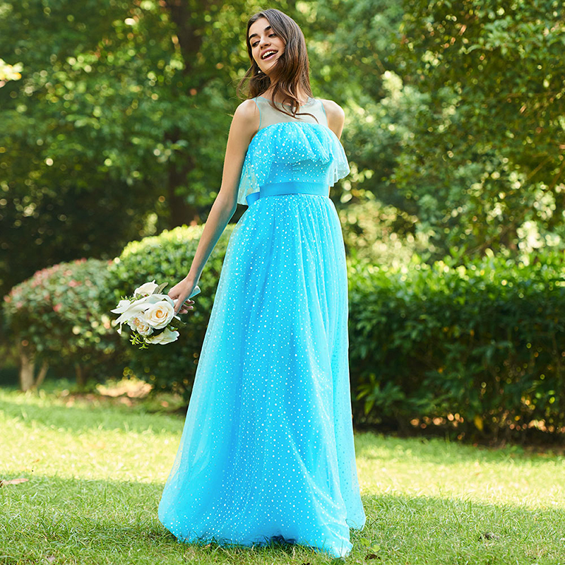 Tanpell scoop bridesmaid dresses blue sleeveless floor length a line gown women wedding party prom long custom bridesmaid dress in Bridesmaid Dresses from Weddings Events