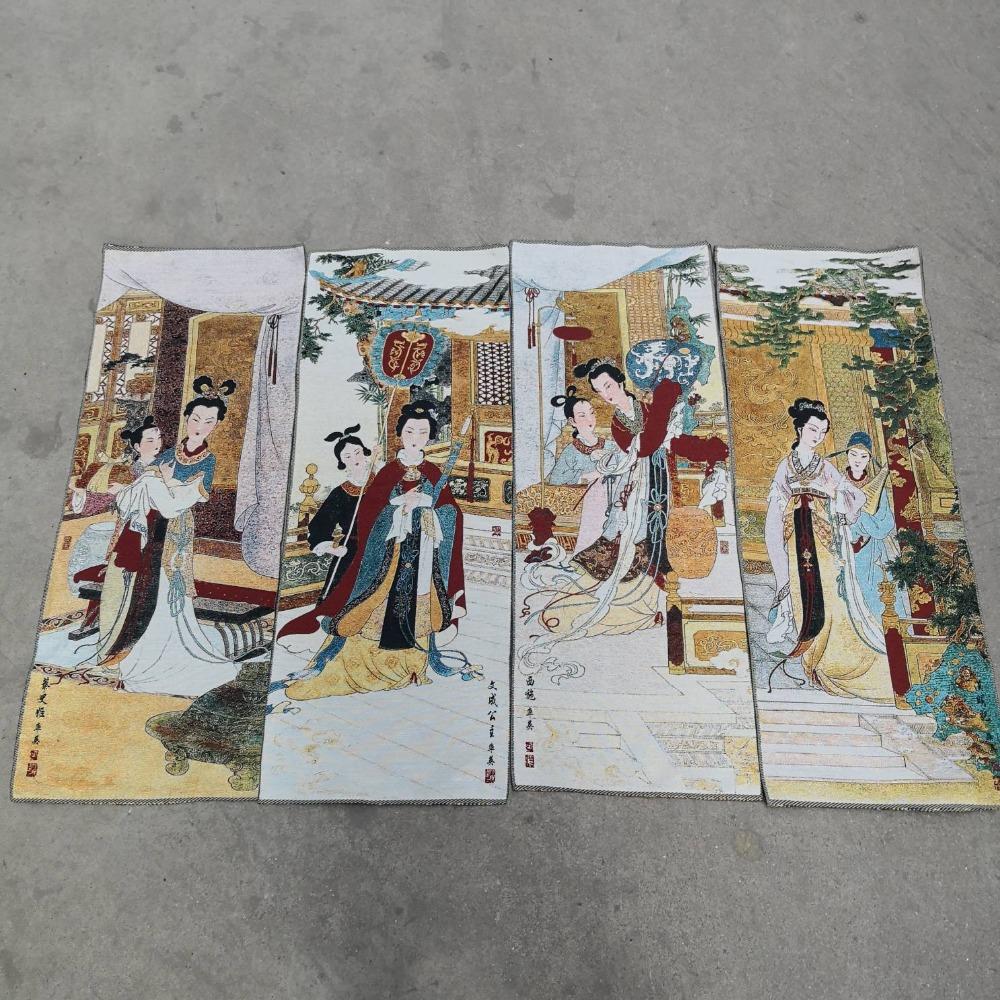 China Four screen painting Thangka embroidery embroidered silk tapestry embroidery Classic beauty paintingChina Four screen painting Thangka embroidery embroidered silk tapestry embroidery Classic beauty painting