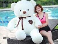 Мягкая игрушка Огромный 160 см белый медвежонок, плюшевые игрушки шелковый пояс любовь медведь кукла обниматься Рождество подарок B0900