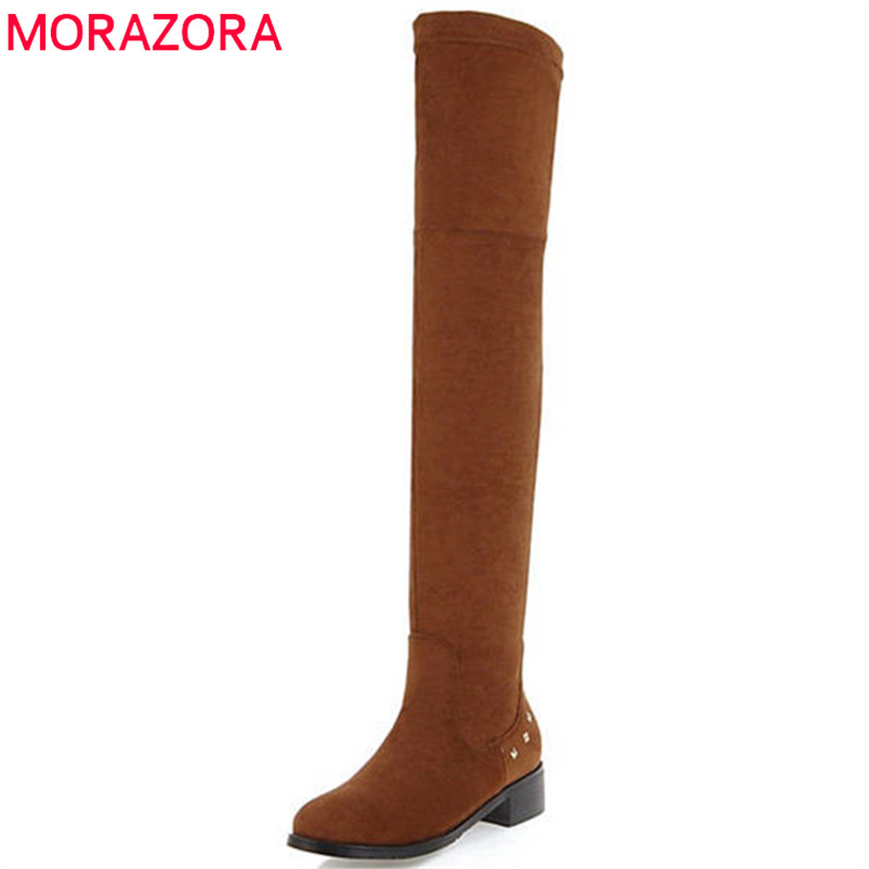 MORAZORA 2018 hot sale thigh high over the knee boots women round toe autumn winter boots sexy slip on long boots shoes woman оноре де бальзак poor relations