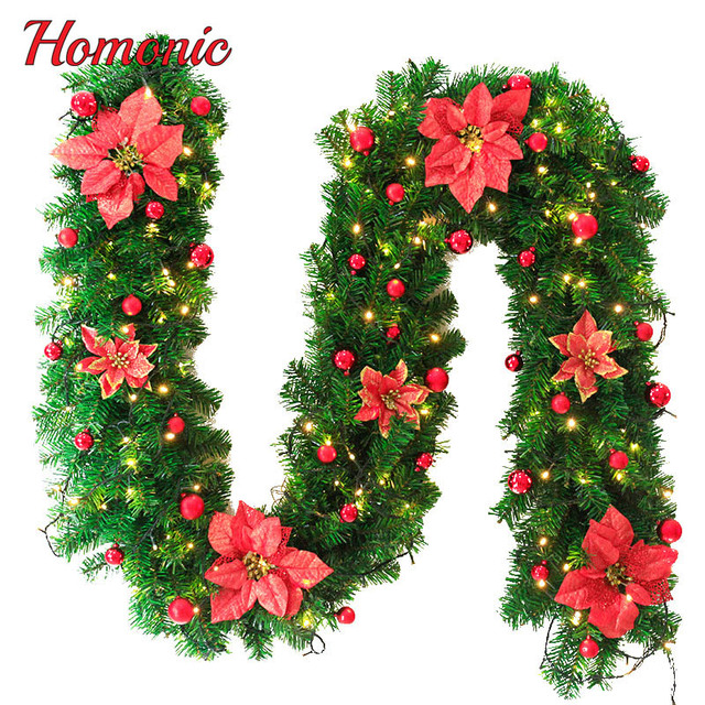27m christmas garland led green christmas rattan with bows and lights christmas decoration supplies christmas - Green Christmas Garland
