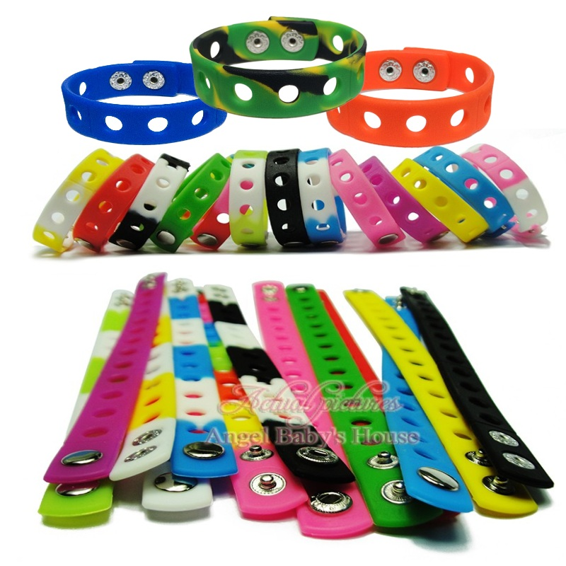 Professional Sale Free Dhl/ems 300pcs 18cm 17 Colors Silicone Wristbands Soft Bracelets Bands For Shoe Charms Croc Party Supplies Furniture Accessories