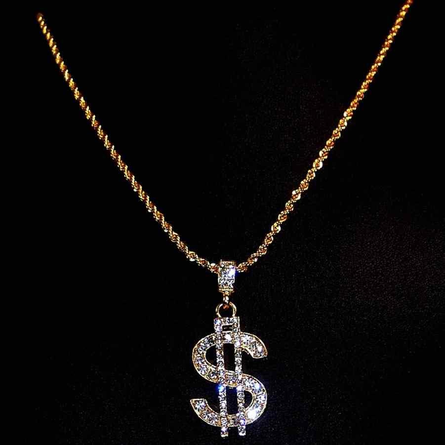 dff90d5110a3 ... Hip Hop moda signo de dólar collar gángster proxeneta colgante de  cristal de cadena de rapero ...