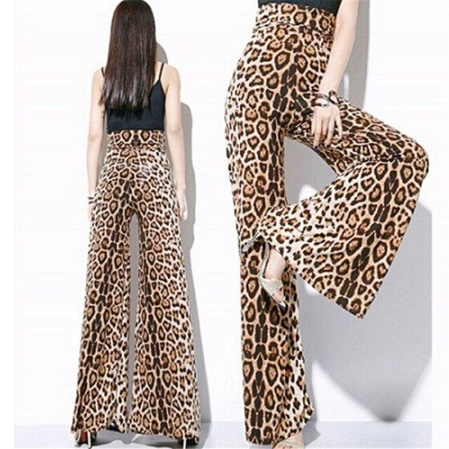 05a86883a3 7XL Women Plus Size European Leopard Print Wide Leg Pants Women High Waist  Skirt Pants Loose Bell Bottom Trousers Chiffon Pants