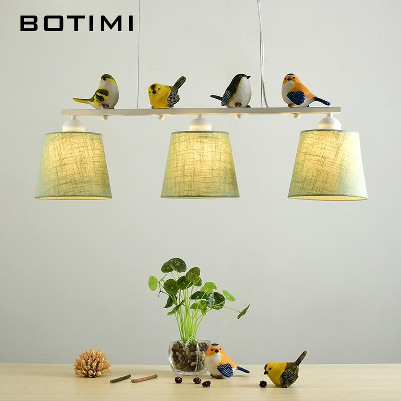 BOTIMI pájaros luces colgantes para comedor Rooom pantallas de tela ...
