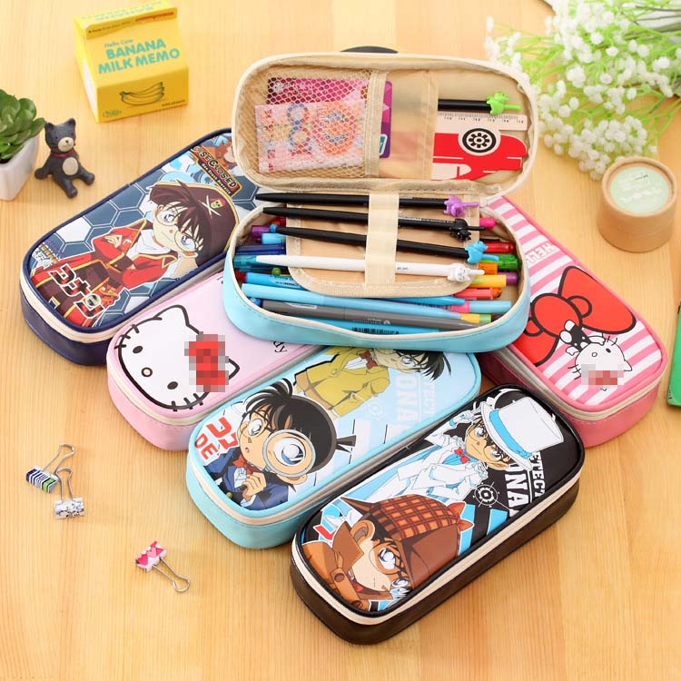 Cartoon School Pencil Case Kawaii Cat Pu Leather Big Capacity Pencil Bags For Kids Stationery Pouch Office Supplies