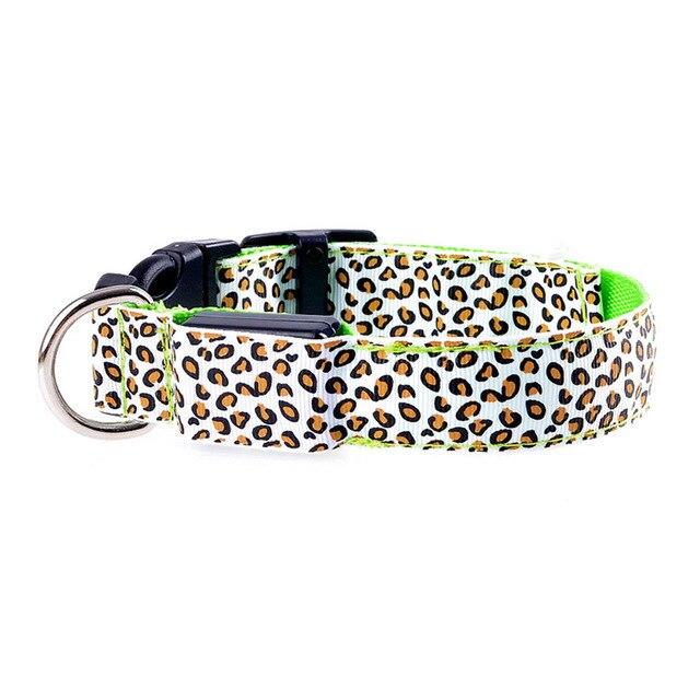 Adjustable LED Light Glow Pet Collar Leopard Nylon Pet Dog Cat Night Safety Luminous Flashing Necklace Glowing Neck Belt XWBE. 14