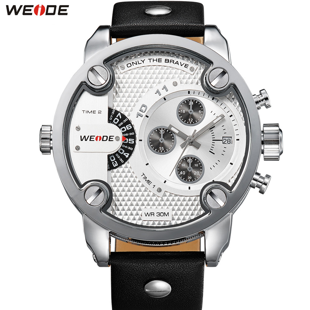 weide sport watches men luxury black leather strap quartz dual time zone analog date men military male clock oversize wristwatch Original Fashion Brand WEIDE Sport Watch Men Quartz Dual Time Zone Man Watches Leather Band Army Wristwatch Relogios Clock Gift