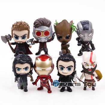 Marvel Avengers Thor Loki Tree Man Iron Man War Machine Star Lord Kratos Bucky Q Version Action Figure Toys 8pcs/set