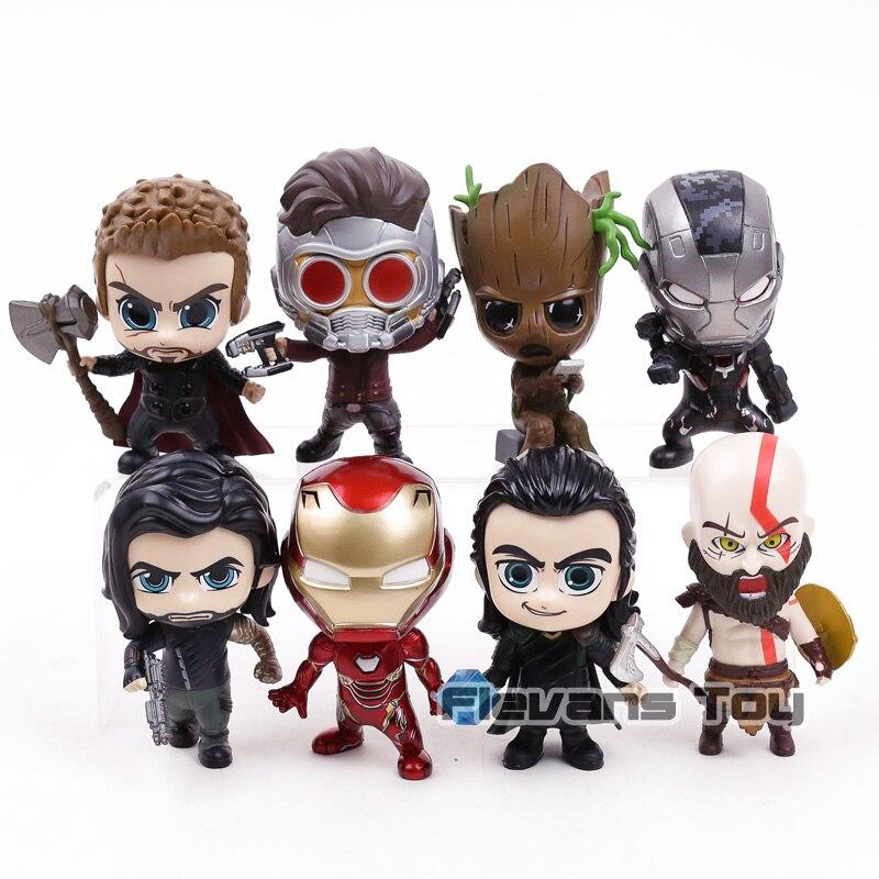 Marvel Avengers Thor Loki Arbre Homme Iron Man War Machine Étoiles Seigneur Kratos Winter Soldier Q Version Action Figure Jouets 8 pcs/ensemble