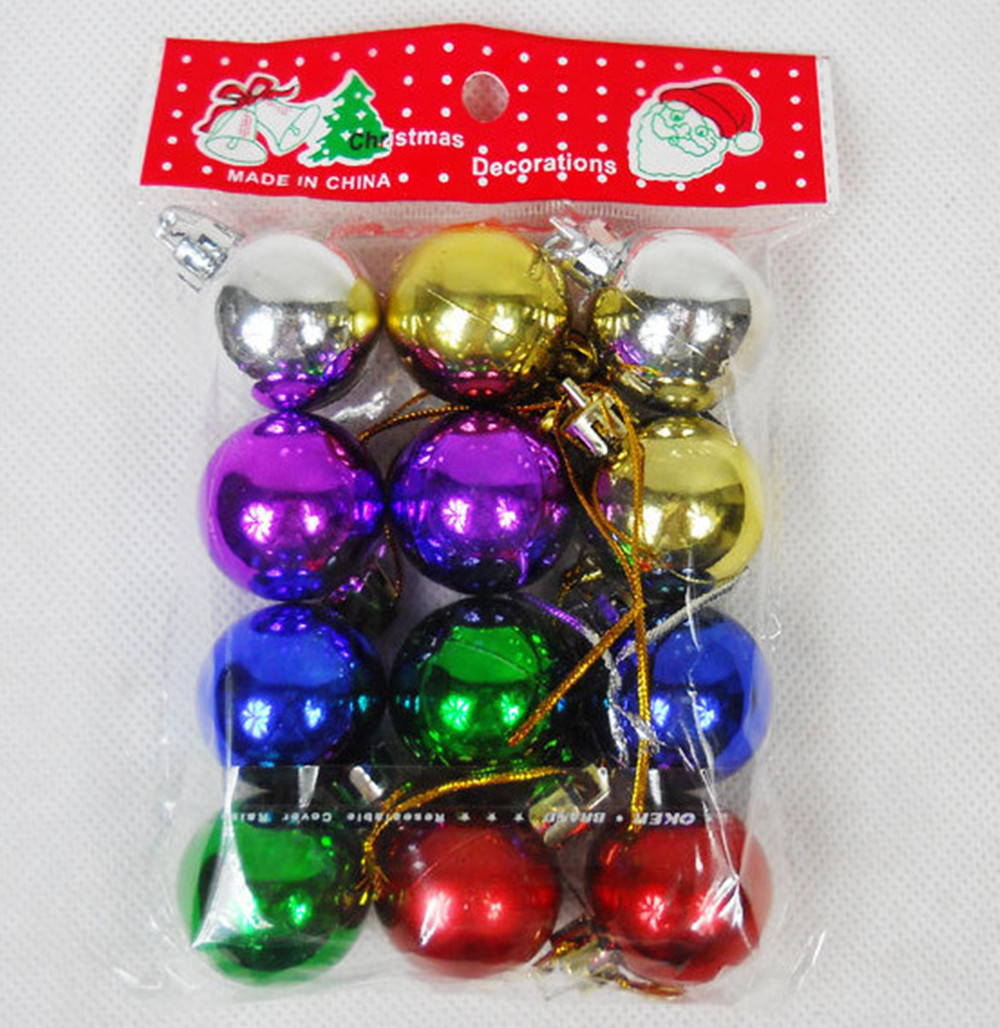 2015 New year xmas merry Christmas home decoration supplies tree ornaments 3 cm plastic ball Laser Bright Adornos Navidad 60pcs
