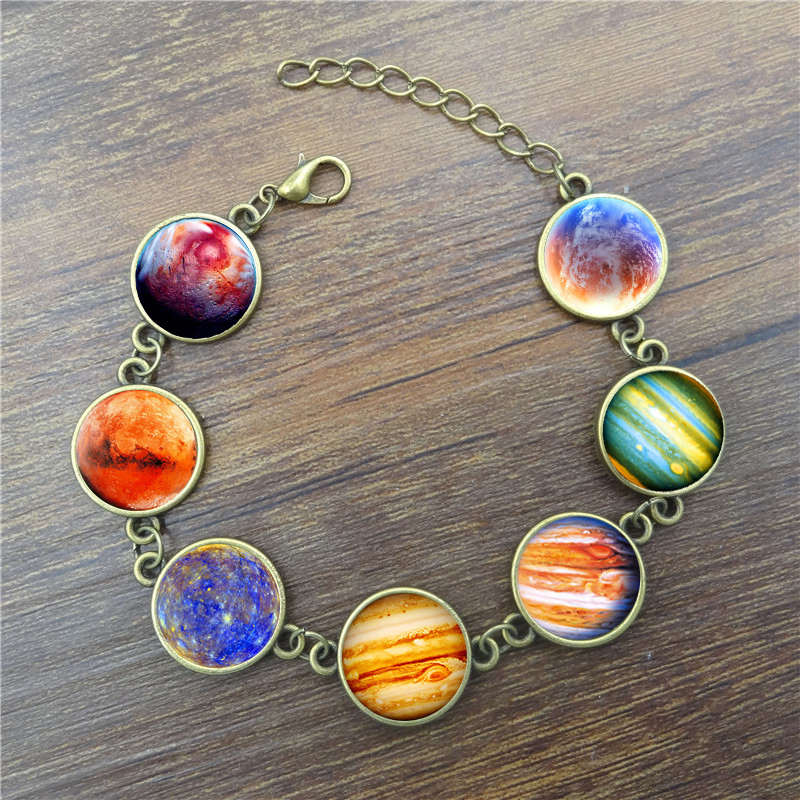 Jewelry & Accessories Bracelets & Bangles Xushui Xj Silver Moon Charm Bracelet Galaxy Planets Glass Cabochon Glow In The Dark Jewelry Cuff Bangle Bracelets For Women Gift