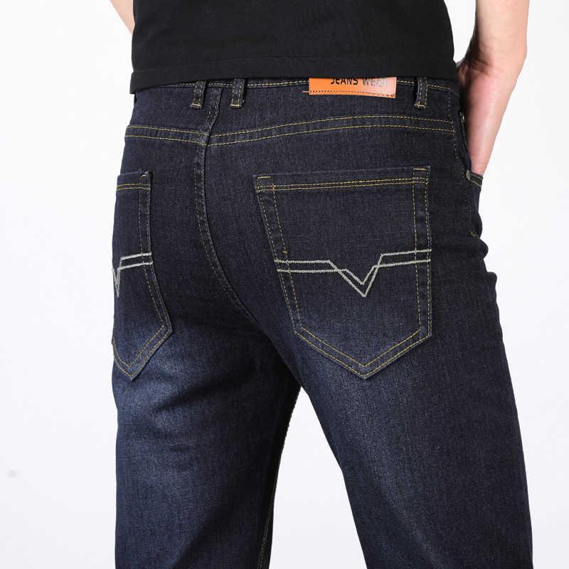 2019 Новые Сезоны стильные мужские повседневные джинсы тонкие прямые эластичные тонкие джинсы новые модные свободные талии длинные брюки мужские джинсы