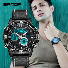 SANDA Luxury Brand Men Analog Digital Leather Sports Watches Men's Army Military Watch Man Quartz Clock Relogio Masculino 771 naviforce watches men luxury brand quartz analog digital leather clock man sports watches army military watch relogio masculino