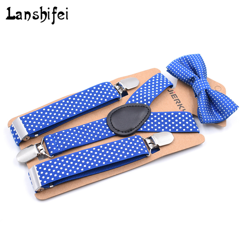 2018 New Arrived Boys Girls Kids Suspenders Adjustable Elastic Y-Back Braces 12 Colors Set Bow Tie Polka Dot Suspender Wedding