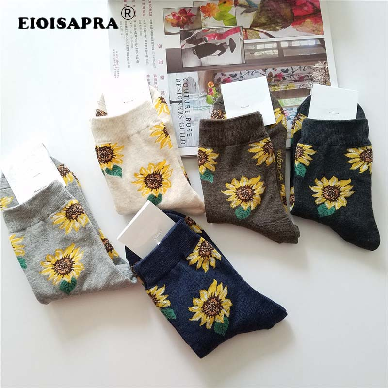 [EIOISAPRA]Korean Style Women Sunflower Short Socks Creative Art Harajuku Japanese Socks High Quality Cotton Tide Sox