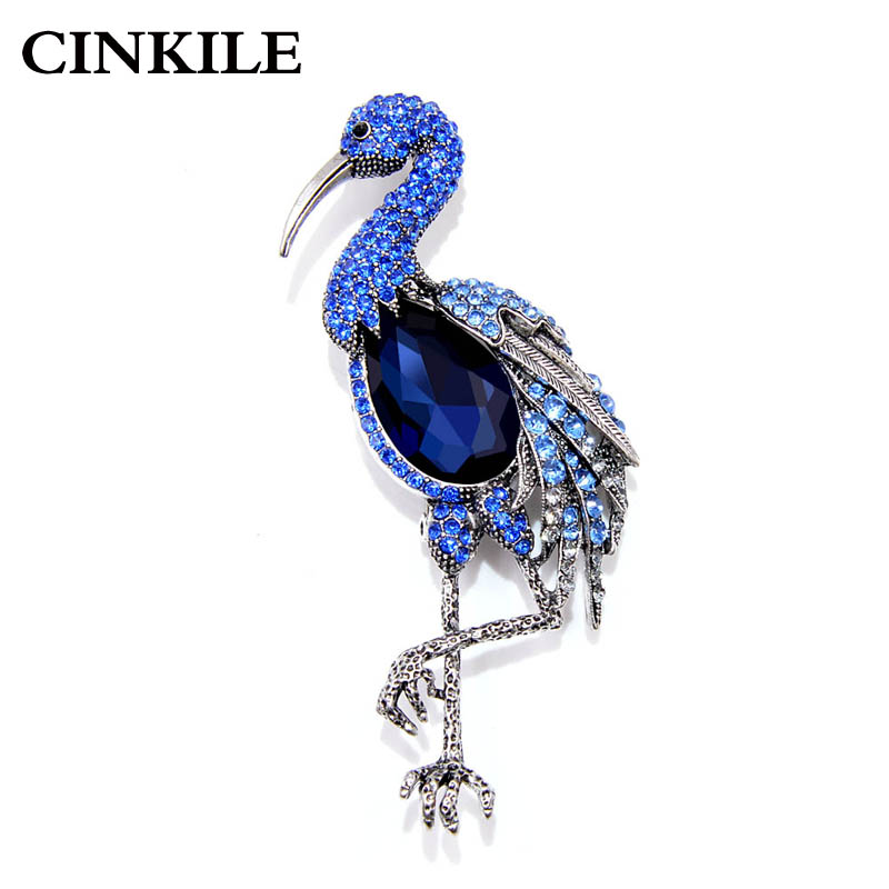 CINKILE Elegant One-legged Standing Crane  Brooches for Women Shiny Crystal Coat Sweater Accessories Party Pins New Gift 2018
