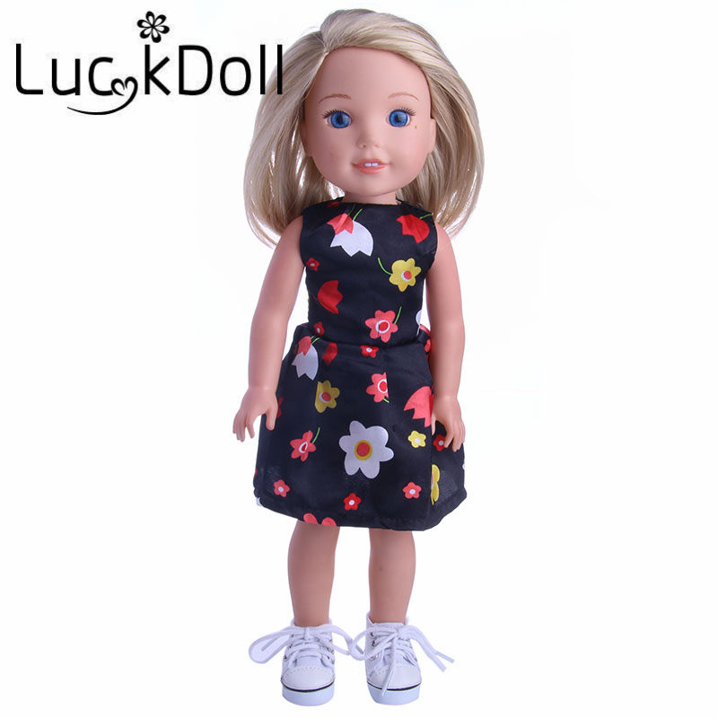 Luckdoll Solid Color Canvas Shoes with Straps for fit 14.5 inch American Girl Doll Wellie Wishers Accessories Doll Shoes
