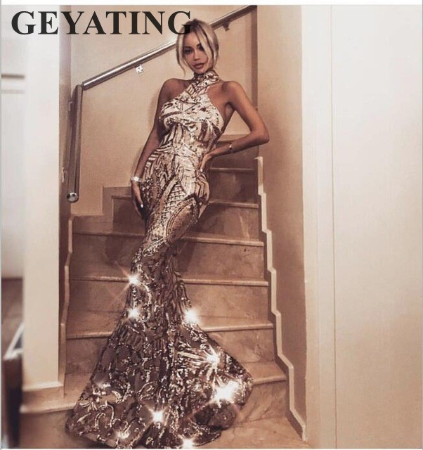 Arabic Gold Sequins Mermaid   Evening     Dress   Long 2019 Elegant Off Shoulder Halter Women Formal   Dress   Party Prom   Dresses   in Stock