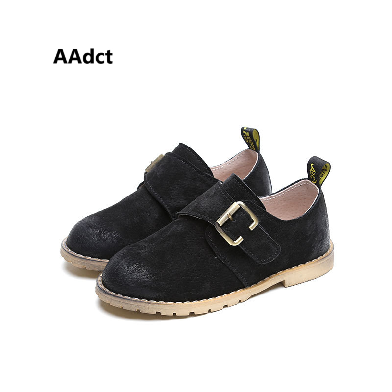 AAdct autumn spring new boys shoes fashion student school kids shoes Brand High-quality children leather shoes for boys Black