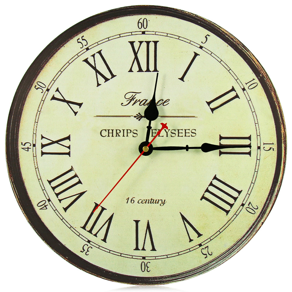 retro silent antique wooden round analog clock wall rustic vintage