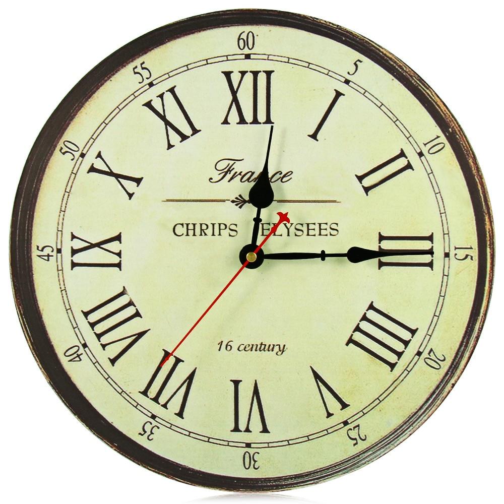 Buy retro silent antique wooden round - Relojes grandes de pared vintage ...
