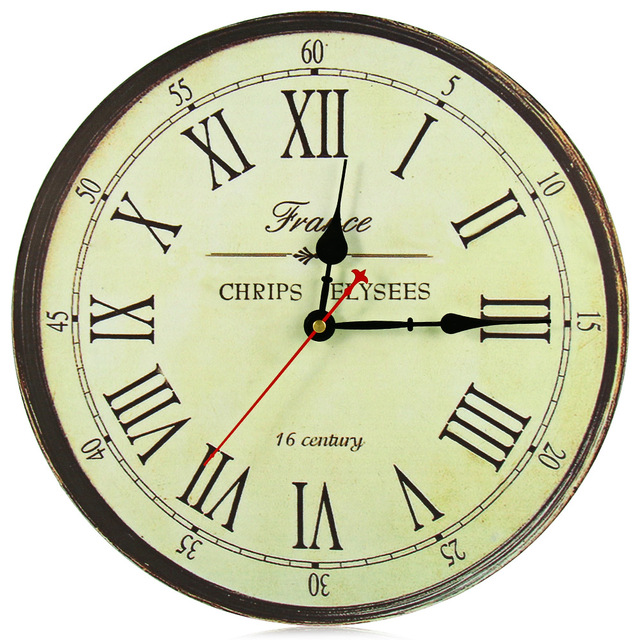 Retro Silent Antique Wooden Round Og Clock Wall Rustic Vintage Roman Numerals Design With 1 Hook