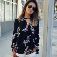Women's  Casual Loose Chiffon Blouse Long Sleeve Black Floral Shirt Tops Autumn Blouses